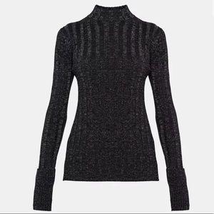 Theory Wool Wide Rib Mock Pullover Size Medium